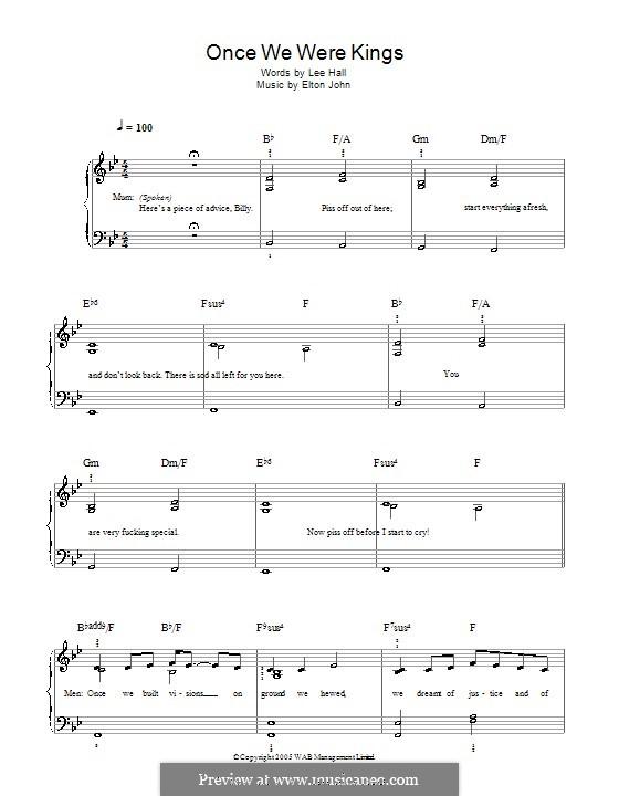 Once We Were Kings: Einfache Noten für Klavier by Elton John