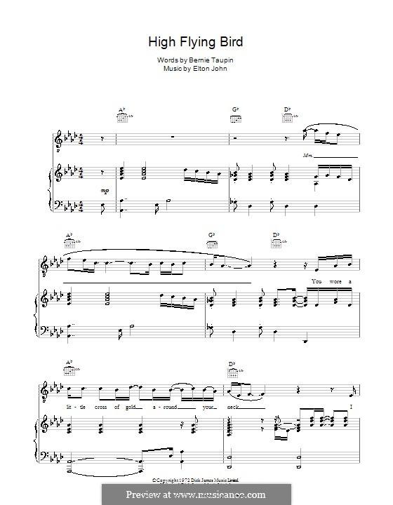 High Flying Bird: Für Stimme und Klavier (oder Gitarre) by Elton John