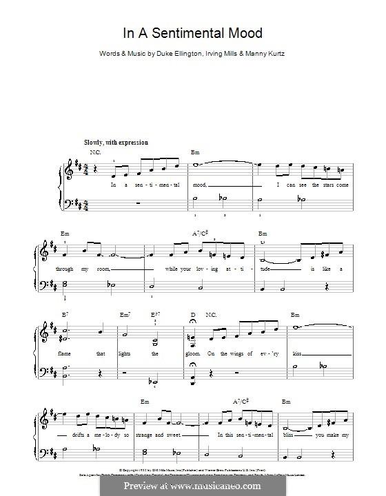 In a Sentimental Mood: Für Klavier, leicht by Irving Mills, Duke Ellington, Manny Kurtz