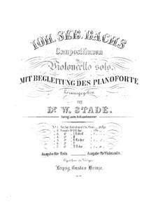 Suite für Cello Nr.1 in d-Moll, BWV 1008: Bearbeitung für Bratsche und Klavier – Bratschenstimme by Johann Sebastian Bach