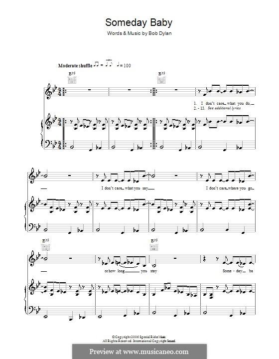 Someday Baby: Für Stimme und Klavier (oder Gitarre) by Bob Dylan