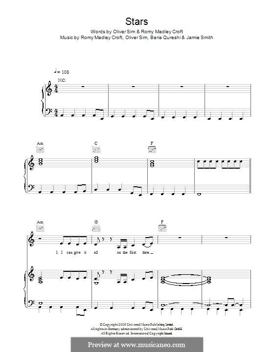 Stars (The XX): Für Stimme und Klavier (oder Gitarre) by Baria Qureshi, Jamie Smith, Oliver Sim, Romy Madley Croft