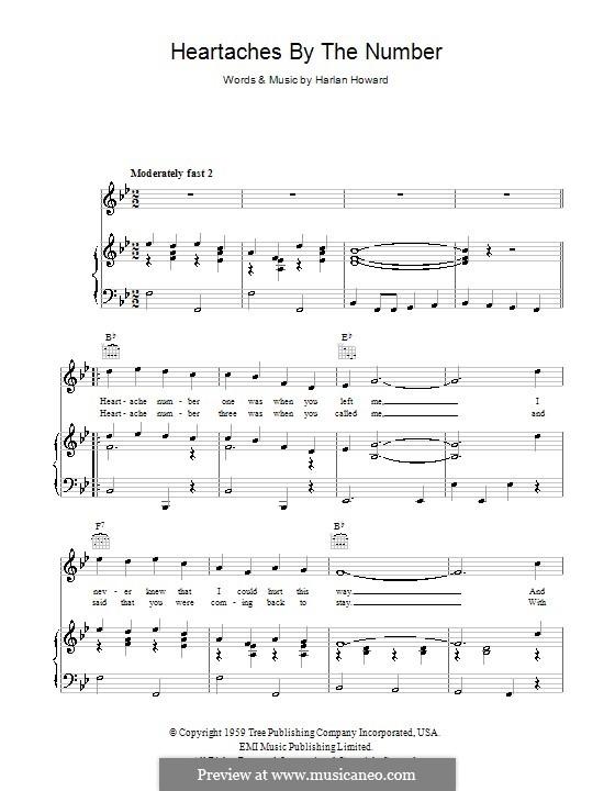 Heartaches By the Number: Für Stimme und Klavier (oder Gitarre) by Harlan Howard