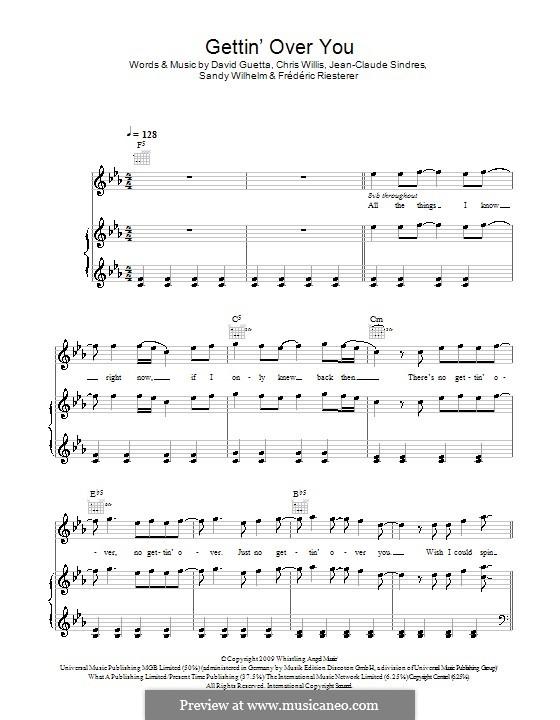 Gettin' Over You (David Guetta & Chris Willis feat. Fergie & LMFAO): Für Stimme und Klavier (oder Gitarre) by Chris Willis, David Guetta, Frédéric Riesterer, Jean-Claude Sindres, Sandy Wilhelm