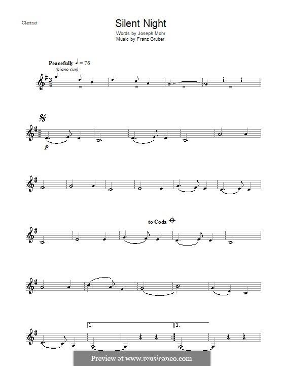 Stille Nacht (Noten zum Direktausdruck): Für Klarinette by Franz Xaver Gruber