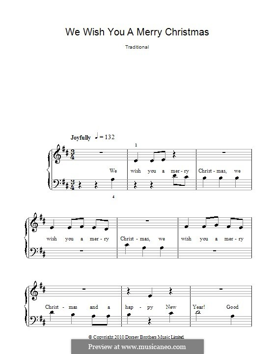 We Wish You a Merry Christmas, for Piano: Easy version (D Major) by folklore