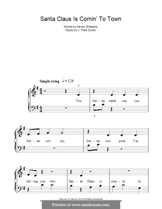 Santa Claus is Comin' to Town, for Piano: Easy version by J. Fred Coots