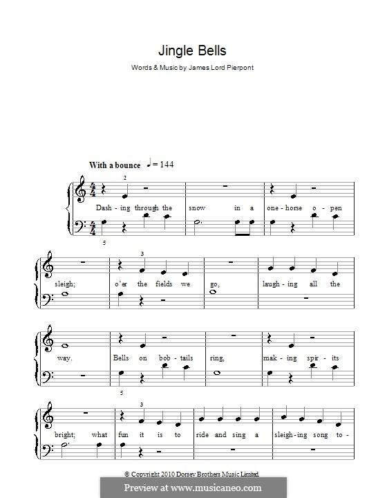 Jingle Bells, für Klavier: Version für leichtes Klavier (with fingering) by James Lord Pierpont
