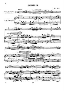 Sonate für Viola da Gamba und Cembalo Nr.2 in D-Dur, BWV 1028: Bearbeitung für Viola da Gamba (oder Cello) und Klavier by Johann Sebastian Bach