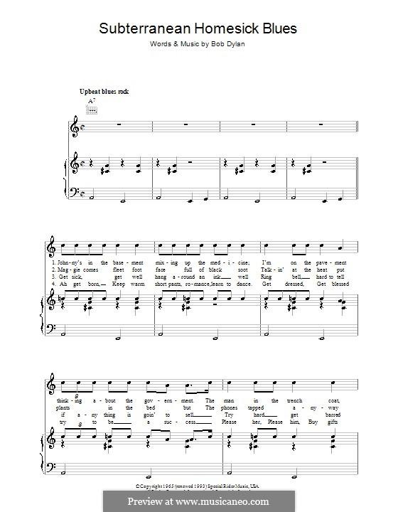 Subterranean Homesick Blues: Für Stimme und Klavier (oder Gitarre) by Bob Dylan