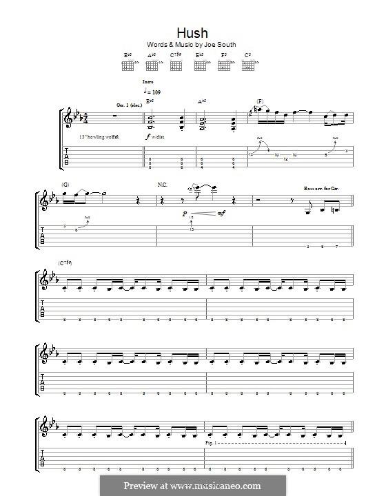 Hush (Kula Shaker): Für Gitarre mit Tab by Joe South