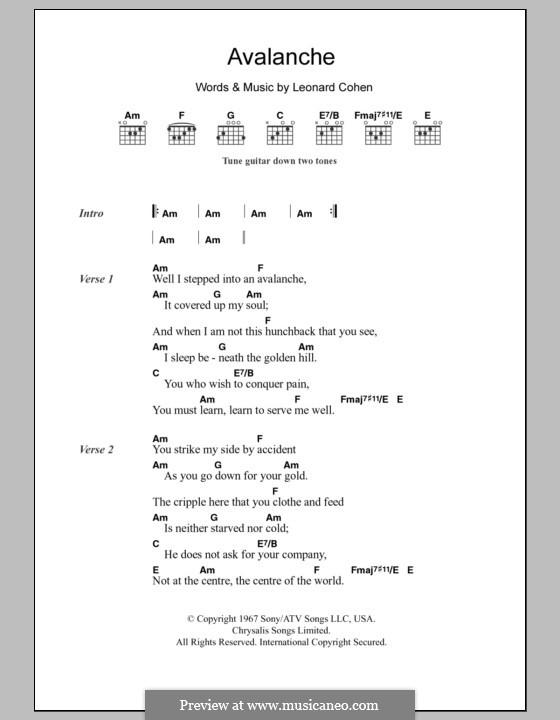 Avalanche: Text und Akkorde by Leonard Cohen