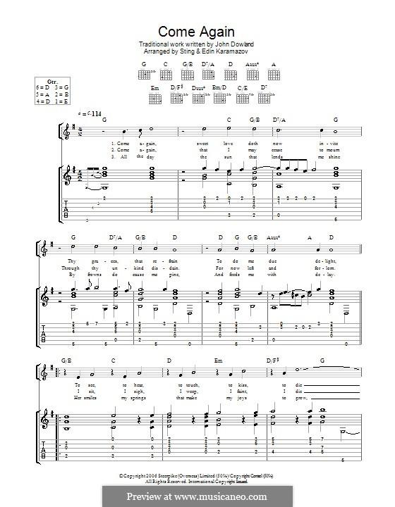 Come Again: Für Gitarre by John Dowland