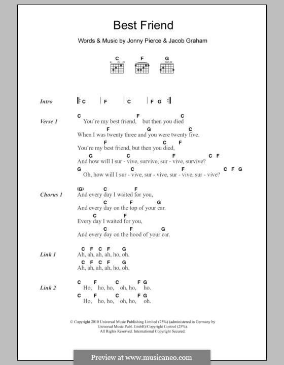 Best Friend (The Drums): Text und Akkorde by Jacob Graham, Jonny Pierce