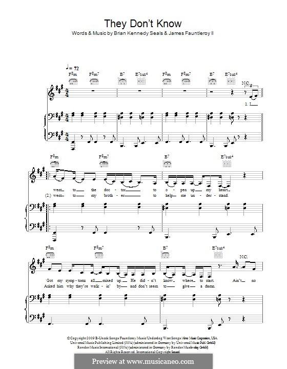 They Don't Know (Alexandra Burke): Für Stimme und Klavier (oder Gitarre) by Brian Kennedy Seals, James Fauntleroy II
