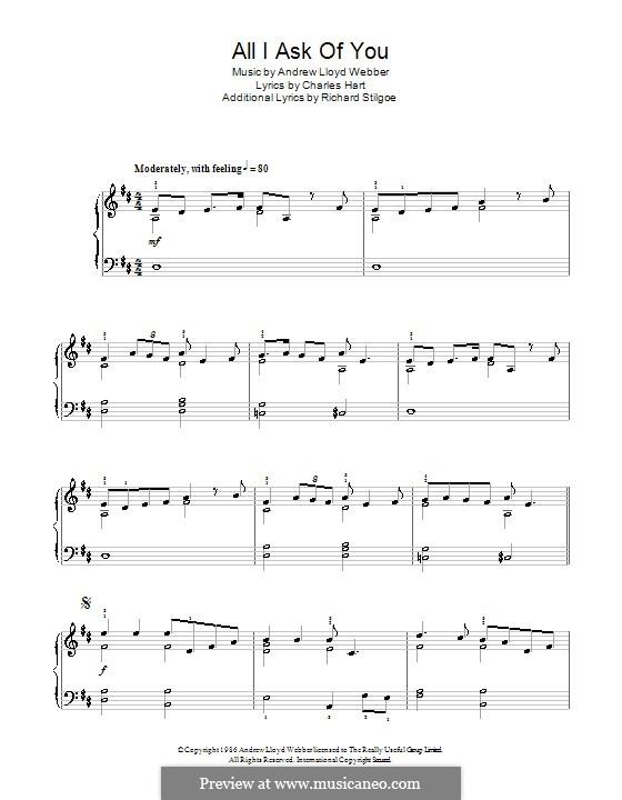 All I Ask of You: Einfache Noten für Klavier (D-Dur) by Andrew Lloyd Webber
