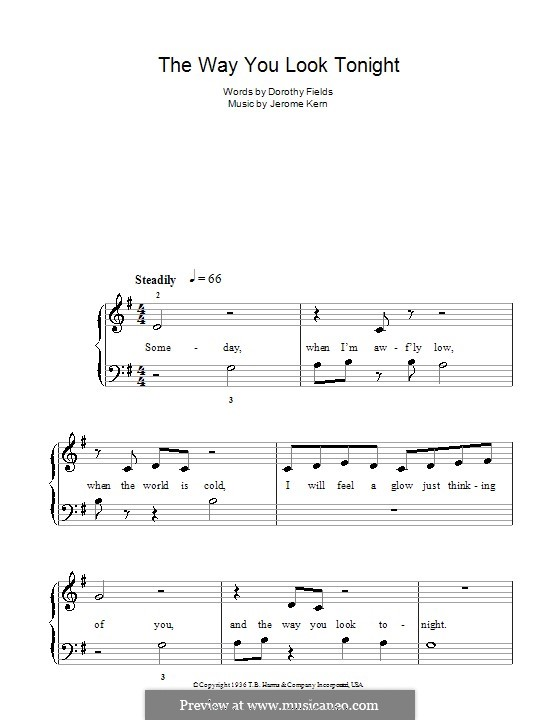 The Way You Look Tonight, for Piano: Easy version by Jerome Kern