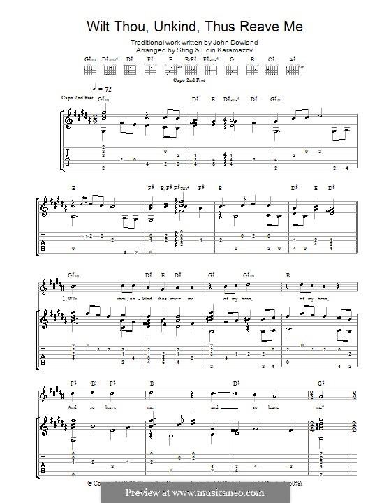 Wilt Thou Unkind Thus Reave Me: Für Gitarre by John Dowland