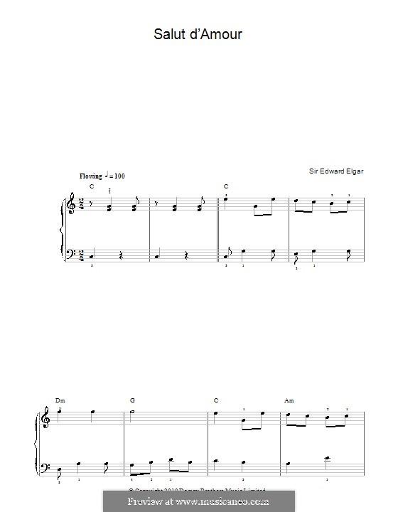 Liebesgruss, Op.12: Einfache Noten für Klavier by Edward Elgar
