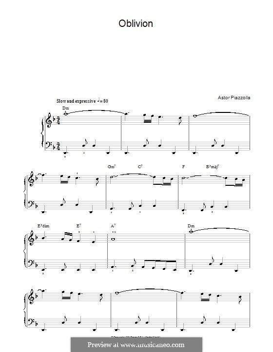 Oblivion: Für Klavier by Astor Piazzolla