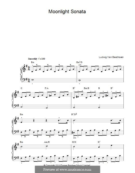 Teil I: Einfache Noten für Klavier (mit Akkorde) by Ludwig van Beethoven