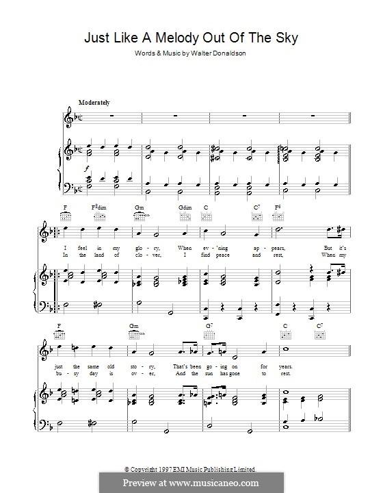 Just Like a Melody Out of the Sky: Für Stimme und Klavier (oder Gitarre) by Walter Donaldson
