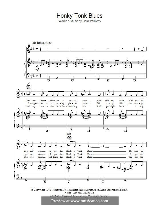 Honky Tonk Blues: Für Stimme und Klavier (oder Gitarre) by Hank Williams