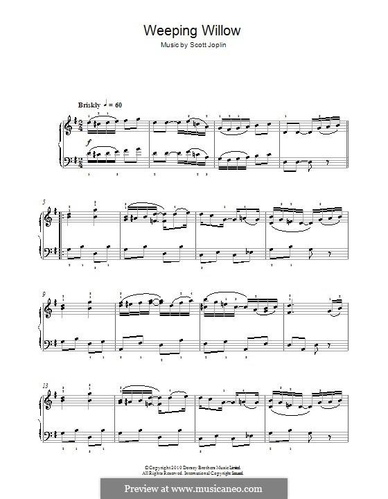 Weeping Willow: Für Klavier (mit Applikatur) by Scott Joplin