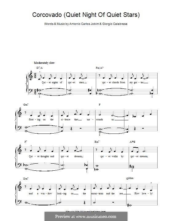 Quiet Nights of Quiet Stars (Corcovado): Für Klavier, leicht by Antonio Carlos Jobim