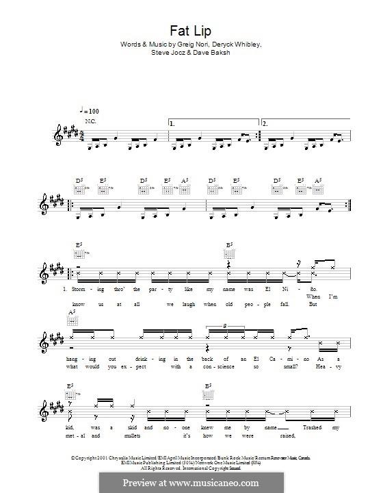 Fat Lip: Melodie, Text und Akkorde by Sum 41, Dave Baksh, Deryck Whibley, Greig Andrew Nori, Steve Jocz