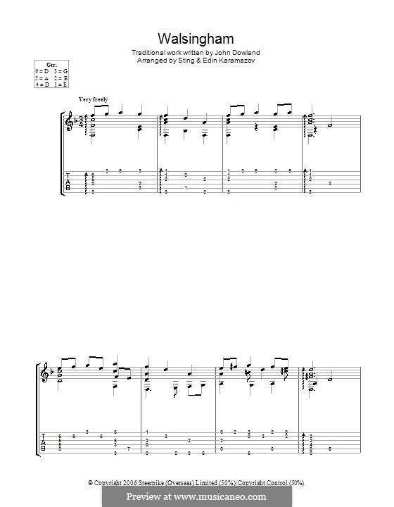 Walsingham: Für Gitarre mit Tabulatur by folklore