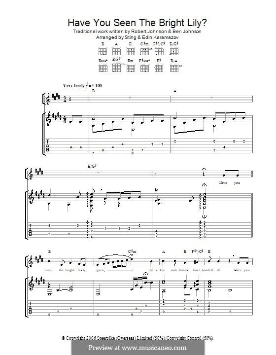 Have You Seen the Bright Lily?: Für Gitarre mit Tab by Ben Johnson, Robert Leroy Johnson