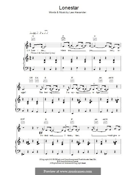 Lonestar (Norah Jones): Für Stimme und Klavier (oder Gitarre) by Lee Alexander