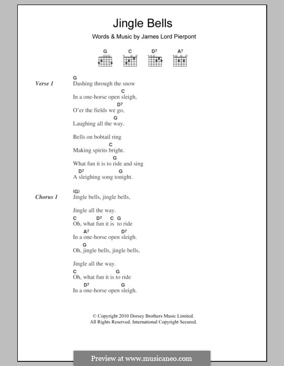 Jingle Bells (Printable scores): Text und Akkorde by James Lord Pierpont