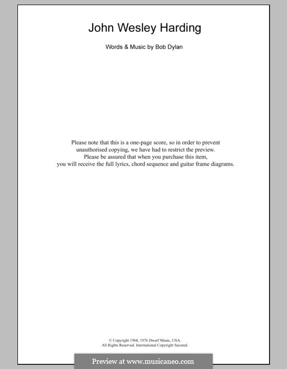 John Wesley Harding: Text und Akkorde by Bob Dylan
