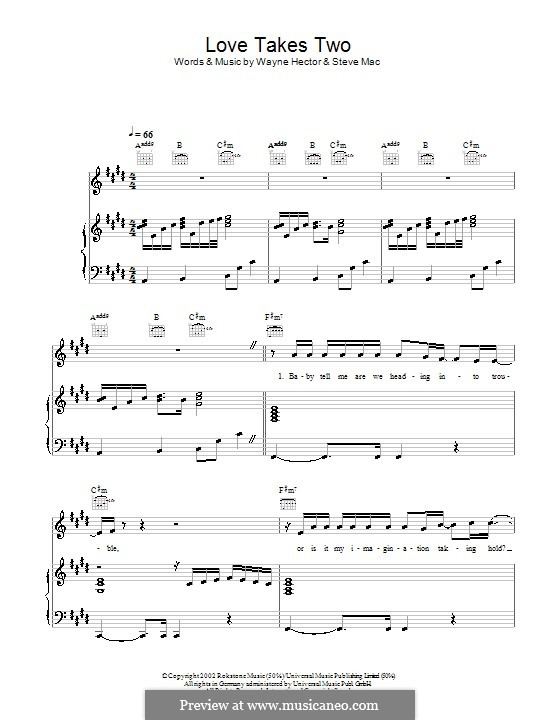 Love Takes Two (Westlife): Für Stimme und Klavier (oder Gitarre) by Steve Mac, Wayne Anthony Hector