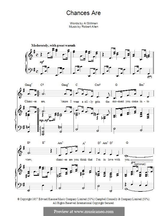 Chances Are (Johnny Mathis): Für Stimme und Klavier (oder Gitarre) by Robert Allen