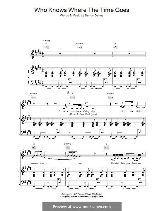 Who Knows Where the Time Goes: Für Stimme mit Klavier oder Gitarre (Eva Cassidy) by Sandy Denny