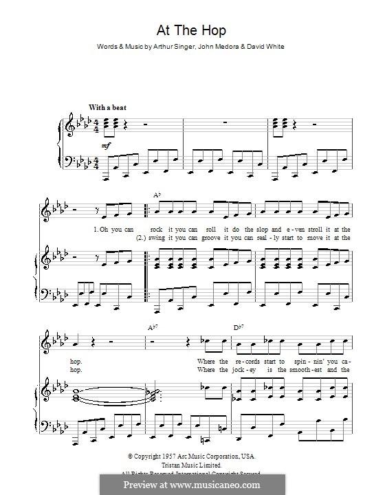 At the Hop (Danny & The Juniors): Für Stimme und Klavier (oder Gitarre) by Arthur Singer, David White, John Medora