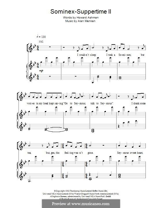 Sominex/Suppertime II: Für Stimme und Klavier (oder Gitarre) by Alan Menken