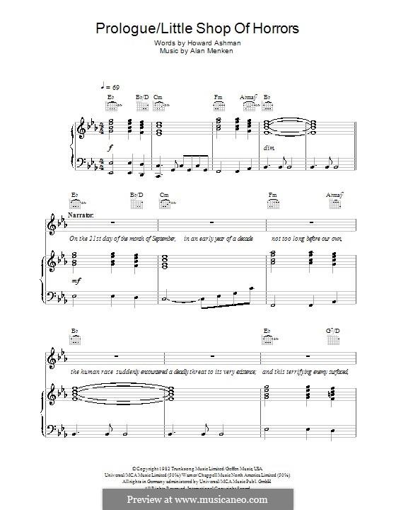 Prologue (from Little Shop of Horrors): Für Stimme und Klavier (oder Gitarre) by Alan Menken
