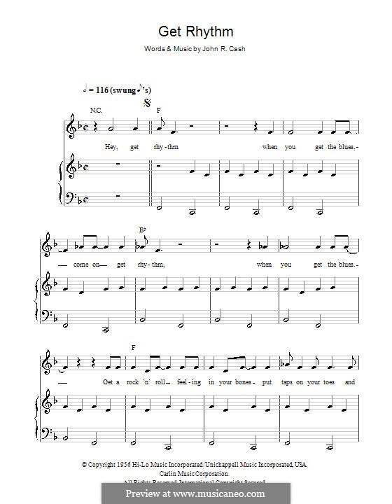 Get Rhythm: Für Stimme und Klavier (oder Gitarre) by Johnny Cash