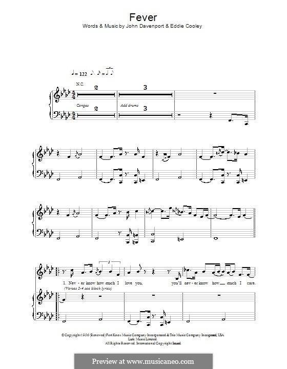 Fever: Für Stimme und Klavier (oder Gitarre) by Eddie Cooley, John Davenport