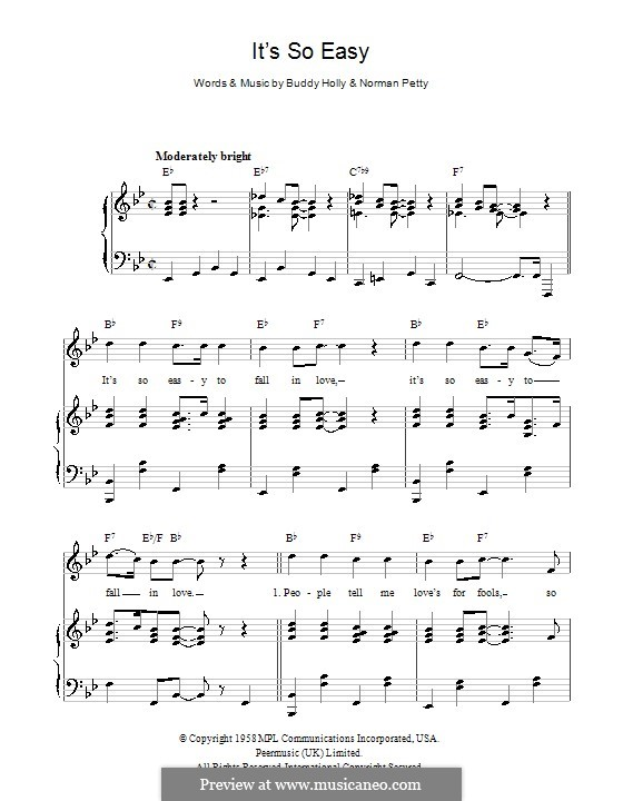 It's So Easy: Für Stimme und Klavier (oder Gitarre) by Buddy Holly, Norman Petty