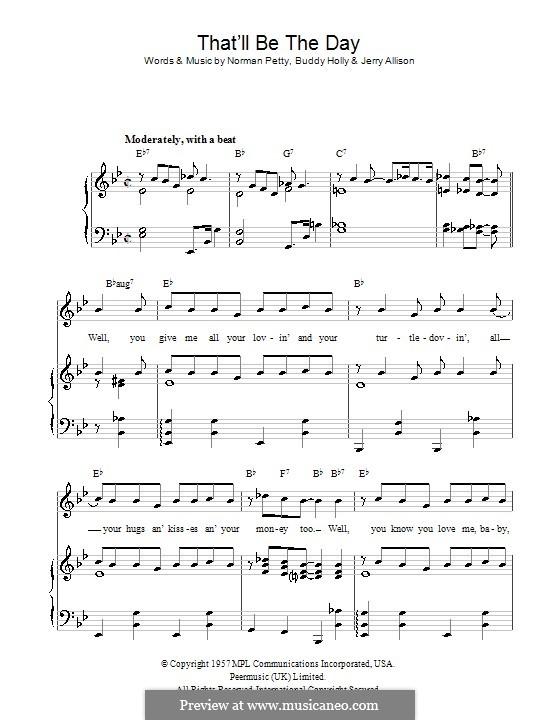 That'll Be the Day: Für Stimme und Klavier (oder Gitarre) by Buddy Holly, Jerry Allison, Norman Petty