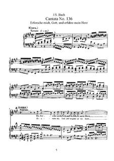 Erforsche mich, Gott, und erfahre mein Herz, BWV 136: Bearbeitung für Stimmen und Klavier by Johann Sebastian Bach