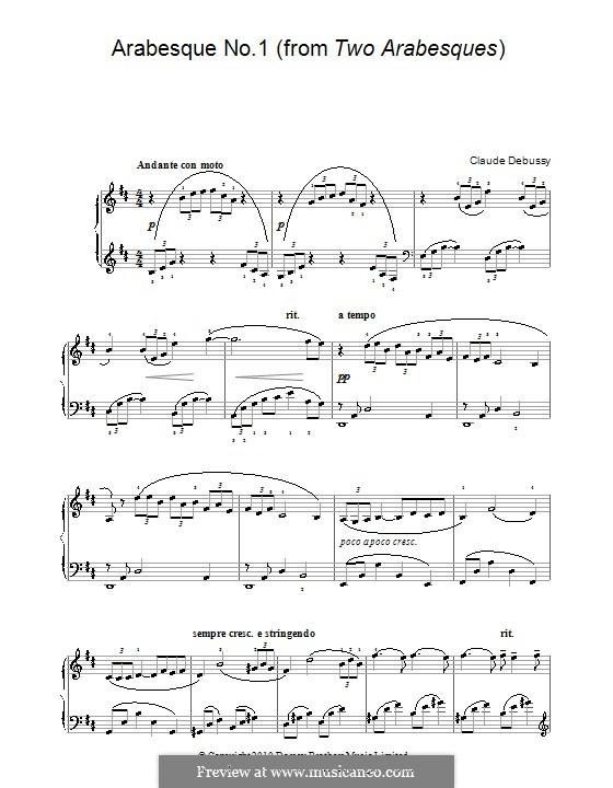 Zwei Arabesken, L.66: Arabeske Nr.1 (einfache Noten für Klavier) by Claude Debussy