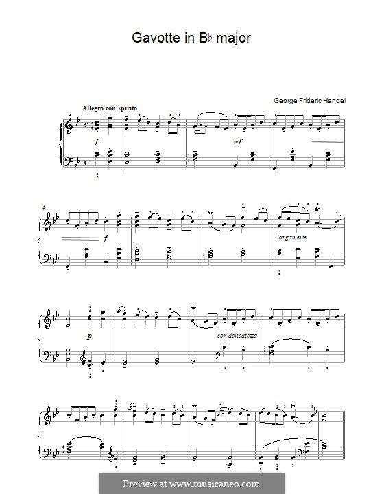 Otto, King of Germany, HWV 15: Gavotte. Version für Klavier by Georg Friedrich Händel