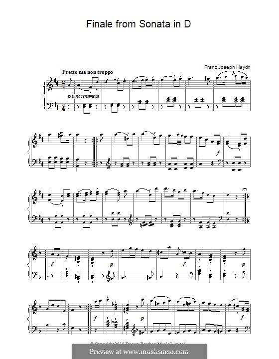 Sonate für Klavier Nr.50 in D-Dur, Hob.XVI/37: Finale by Joseph Haydn