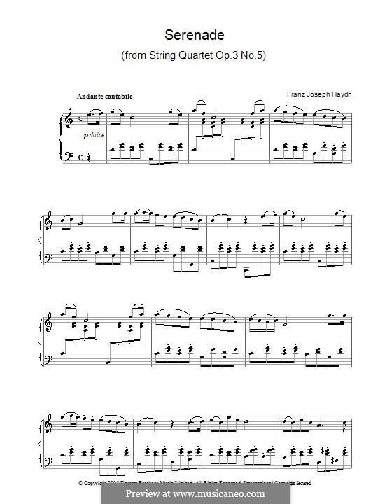 Streichquartett in F-Dur, Hob.III/17 Op.3 No.5: Teil II. Version für Klavier by Joseph Haydn